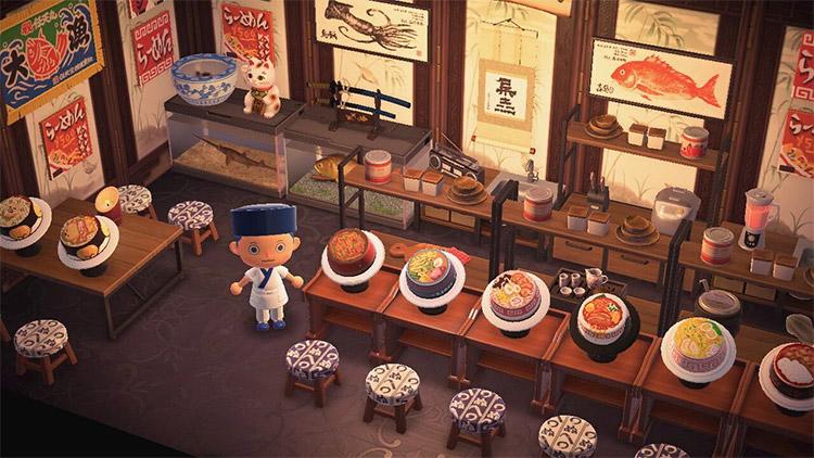 Asian-inspired interior for ramen shop in ACNH