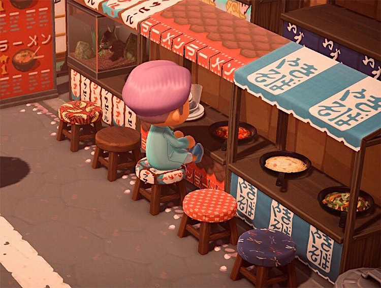 Red and blue ramen stalls in ACNH