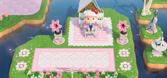 Pink-themed music area in Animal Crossing New Horizons
