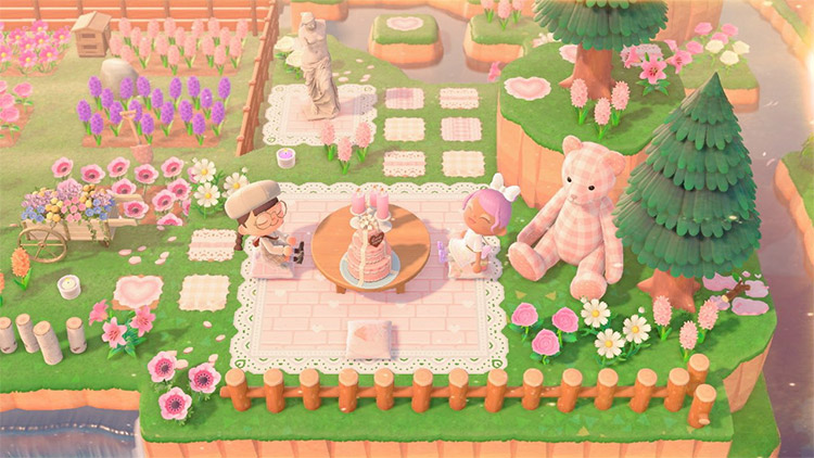 Bright pink tea party area in ACNH