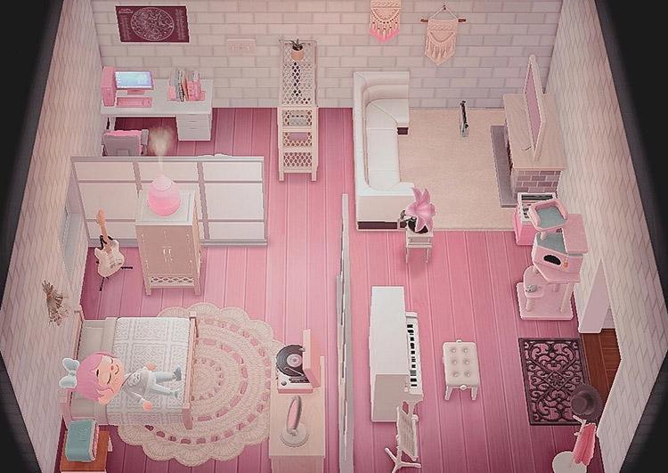 Pink studio apartment interior in ACNH