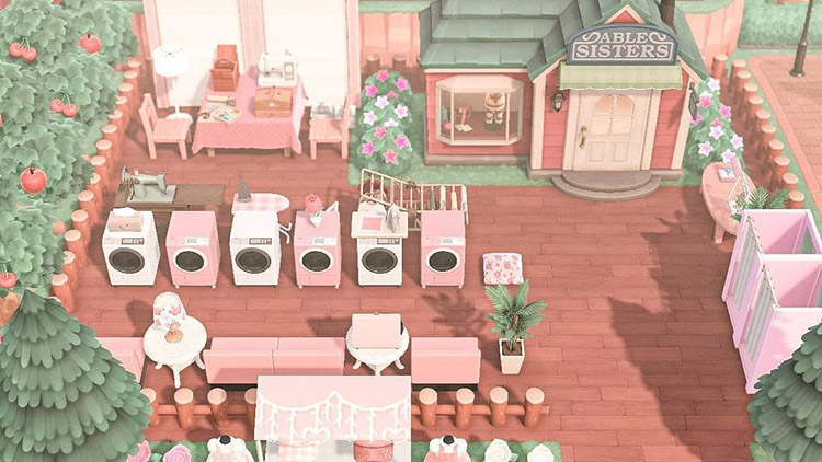 Able Sisters pink outdoor expansion design in ACNH