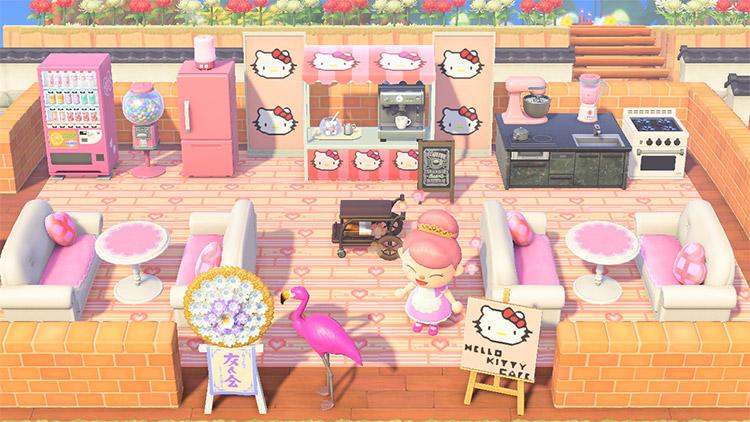 Hello Kitty items in a cafe / ACNH Idea