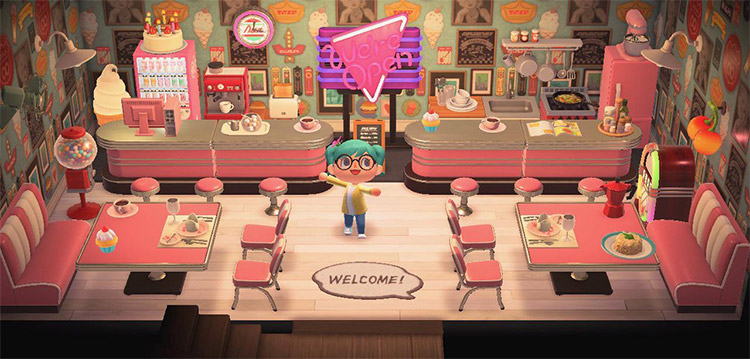 Retro diner with a pink theme - ACNH Idea