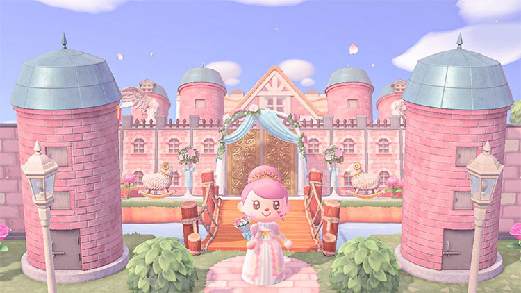 Big pink princess castle in ACNH