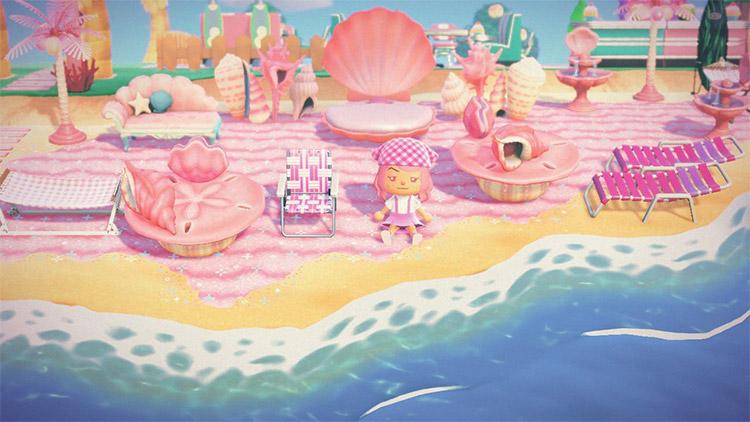 Pink mermaid-themed beach area in ACNH