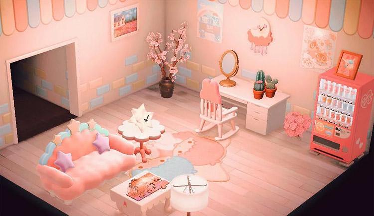 Sanrio-themed pink home office - ACNH Idea