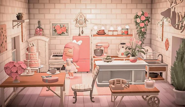 Pink bakery or kitchen interior - ACNH Idea