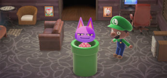 Bob using a Warp Pipe in Animal Crossing