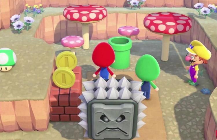 Custom Super Mario level with warp pipe in ACNH