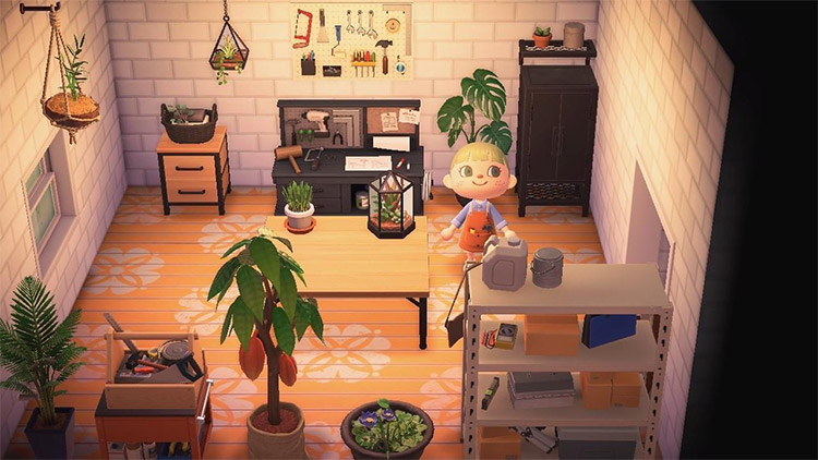 Wood workshop room with plants in ACNH