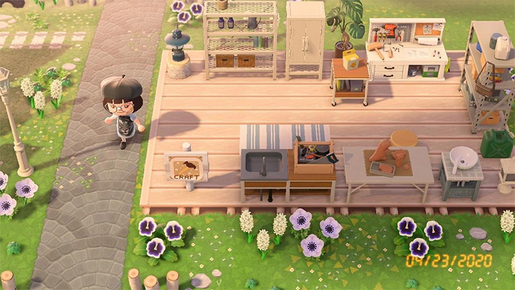 Outdoor crafting patio outdoors in ACNH