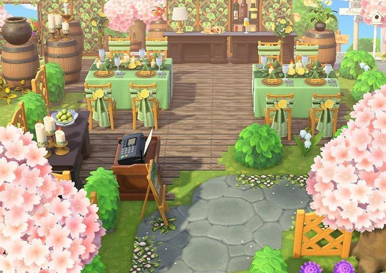 Outdoor vinyeyard restaurant in ACNH