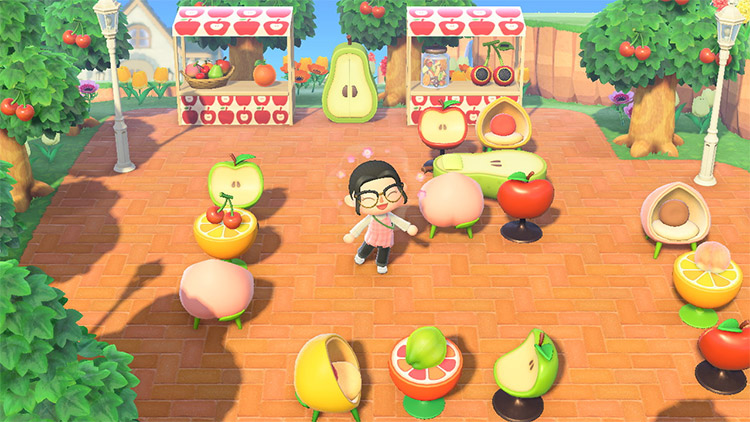 Fruit-themed outdoor cafe in ACNH