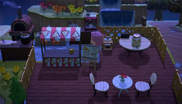 Pizza parlor at night on the beach / ACNH Idea