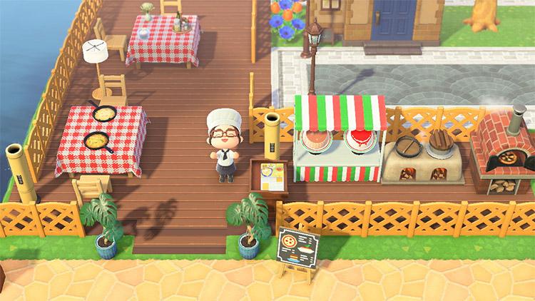 Outdoor Italian restaurant build in ACNH