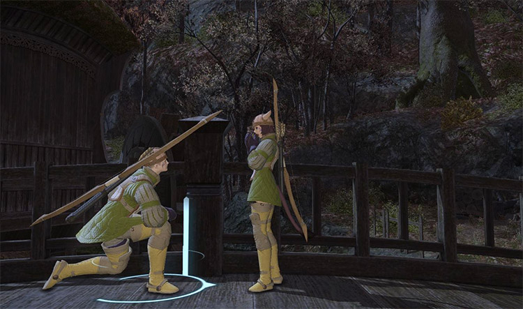 Kneeling man and woman characters in FFXIV
