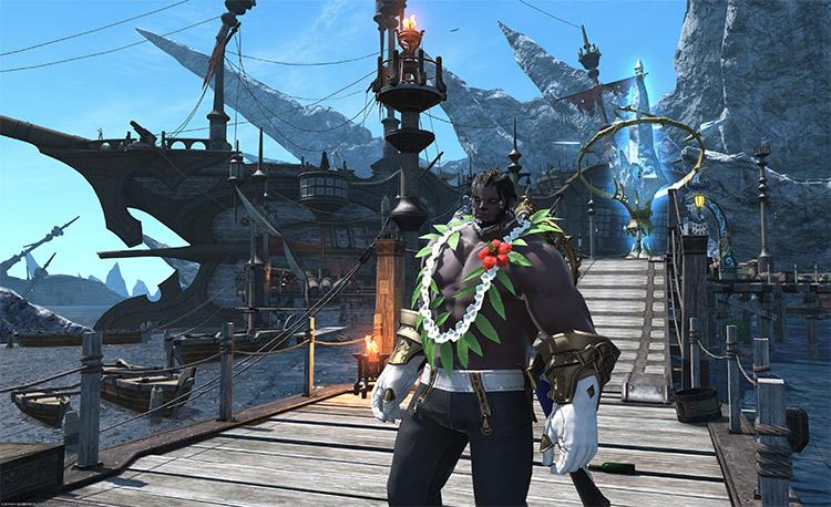 Muscley character near docks in FFXIV