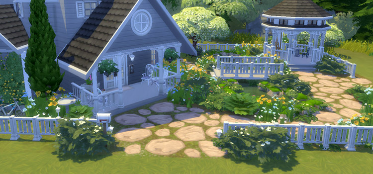Front yard home with bushes and shrubs in TS4