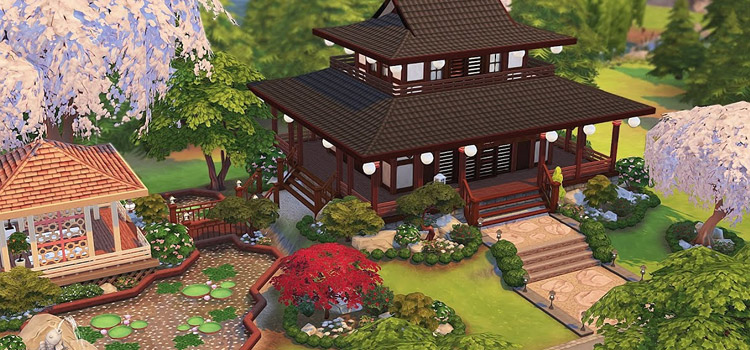 Japanese-style house design in The Sims 4