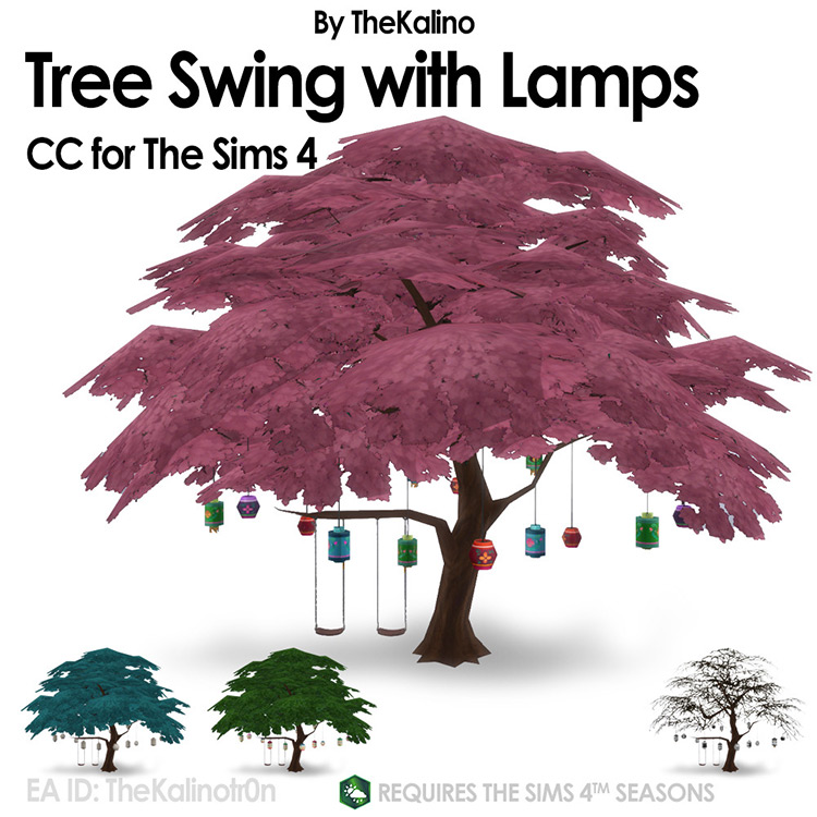 Tree Swing with Lamps for Sims 4