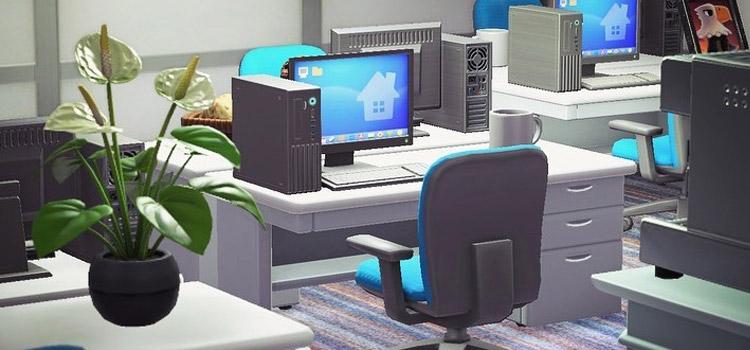 Commercial Office Desk Setup in Animal Crossing: New Horizons