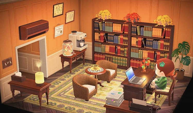 Bright and flowery office room in ACNH