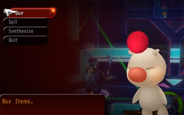 Close-up of a Moogle shop in KH2.5