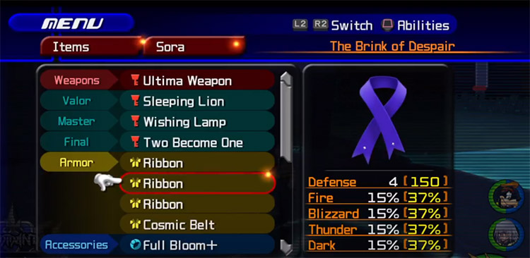 Ribbon inventory item screenshot from KH2.5