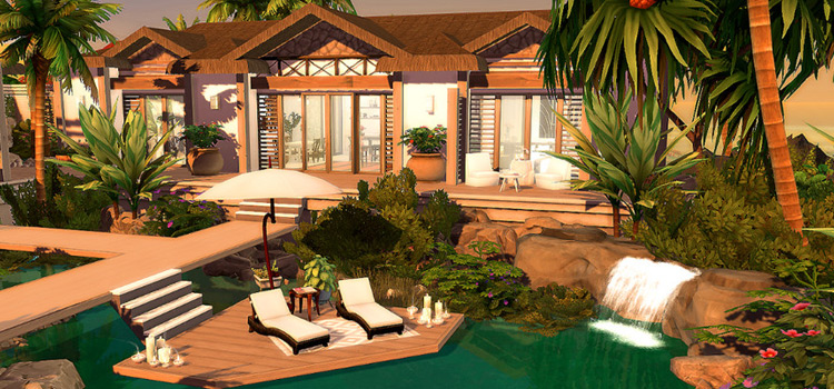 Caribbean Beach Villa Lot for The Sims 4