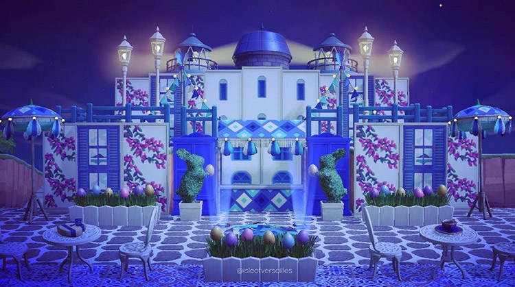 Blue palace designed with stalls / ACNH Idea
