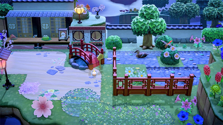 Outdoor Japanese-themed garden with stalls / ACNH Idea