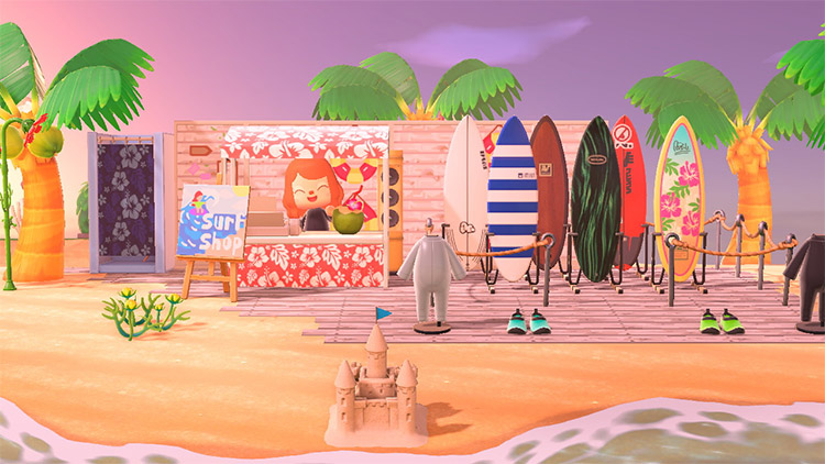 Surfboard shack with stalls in ACNH
