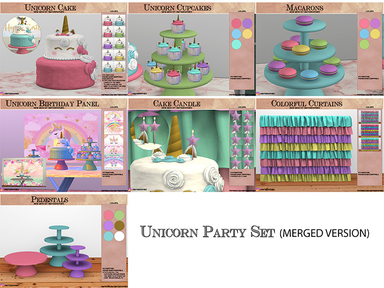 Unicorn Party Set / Sims 4 CC