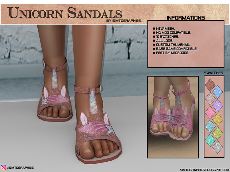 Unicorn Sandals / Sims 4 CC screenshot