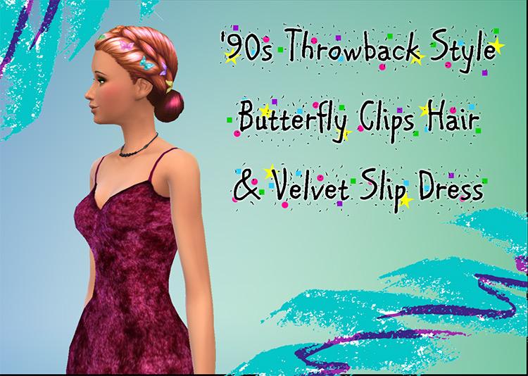Butterfly Clips & Velvet Dress CC / The Sims 4