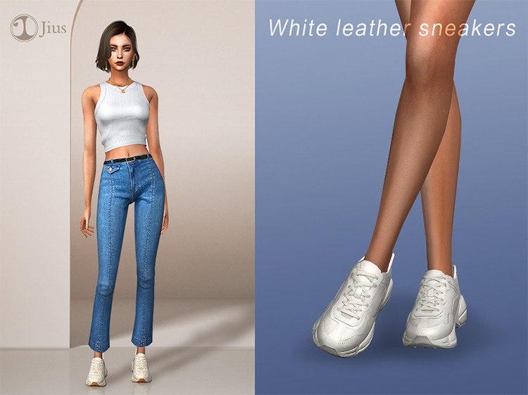 White Leather Sneakers / TS4 CC