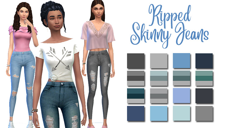 Ripped Skinny Jeans / Sims 4 CC