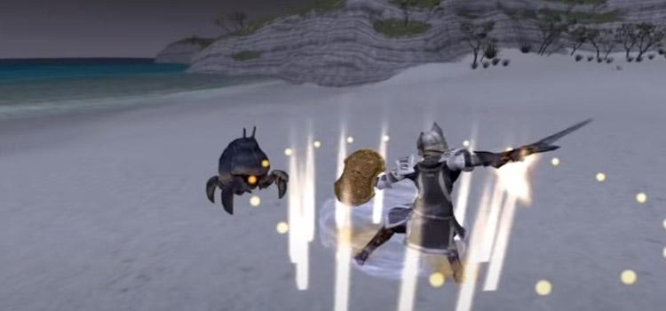 Sword weaponskill battle at night in Final Fantasy XI