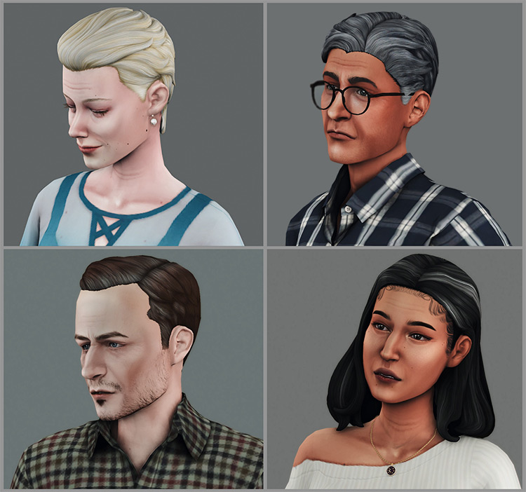 Gray Hair Strands Sims 4 CC