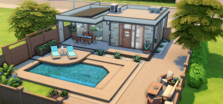 Modern house with pool in summertime - TS4 screenshot
