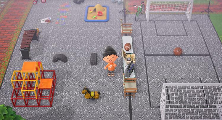 Custom asphalt playground area in ACNH