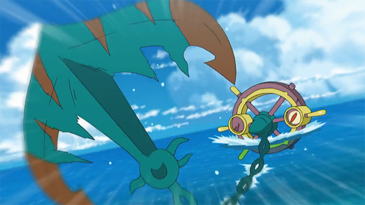 Dhelmise Pokemon in the anime