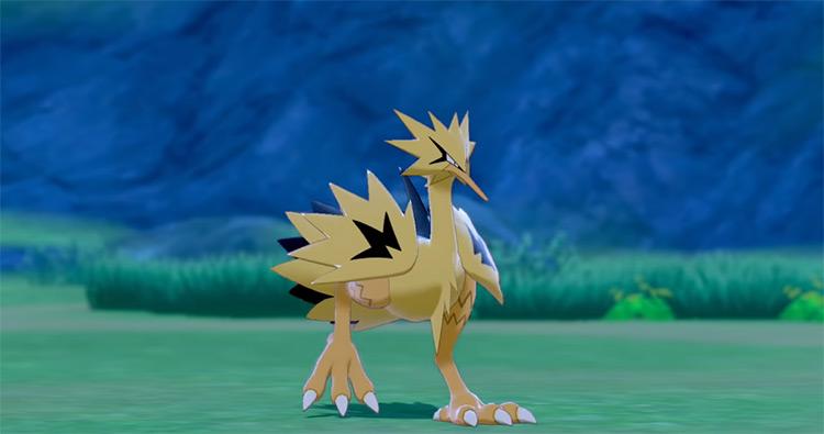 Shiny Galarian Zapdos in Pokémon Sword and Shield
