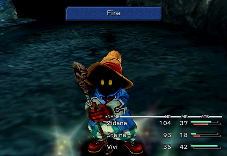FF9 Vivi using Fire ability screenshot