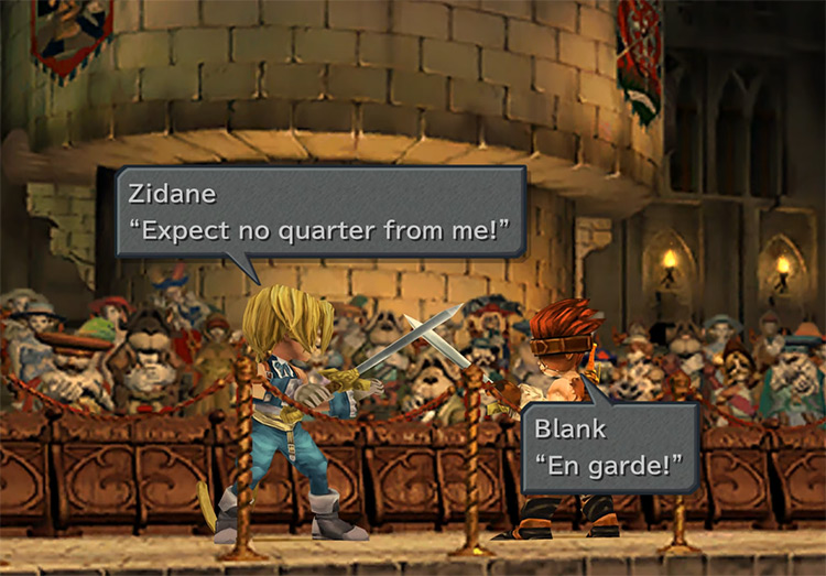 FFIX Zidane and Blank stage a fight