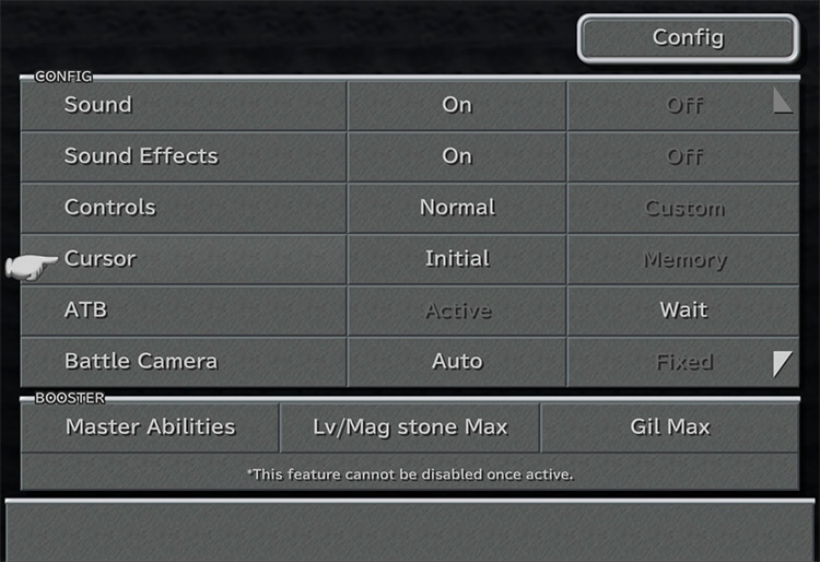 Adjust the Config in FFIX screenshot