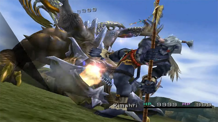 Kimahri's Thrust Kick Overdrive in Final Fantasy X