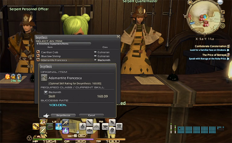 Screenshot of a desynth in FFXIV
