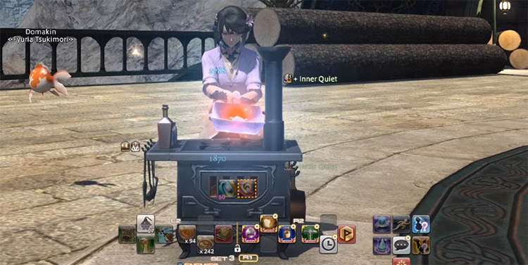 Screenshot of cooking alchemy in FFXIV